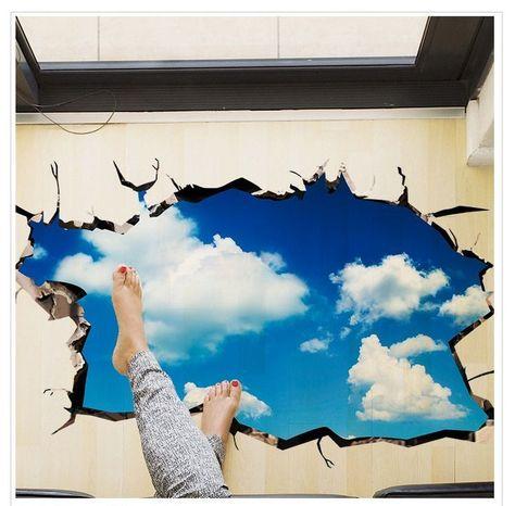 Blauer Himmel 3D Tapeten Boden Aufkleber Abnehmbare Wandtattoos .