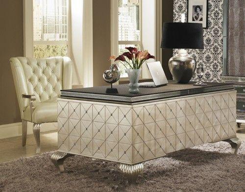 AICO Hollywood Swank Desk by Michael Amini | Glam living room .