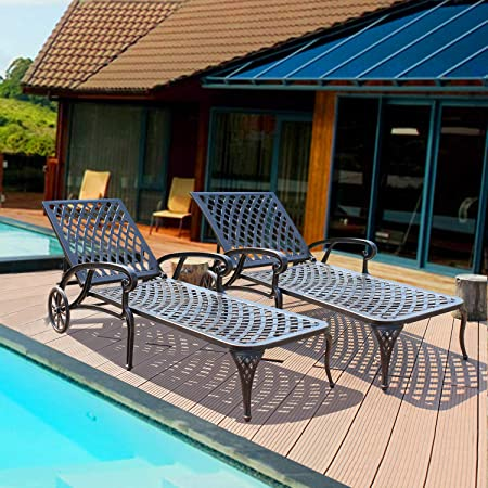 Amazon.com : HOMEFUN Chaise Outdoor Aluminum Wheels Lounges Chair .