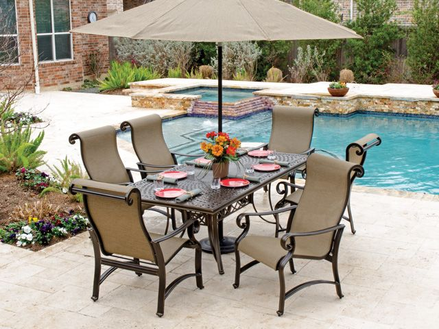 Solaris Designs Carlabad Sling 7 Pc. Aluminum Dining Set - It's .
