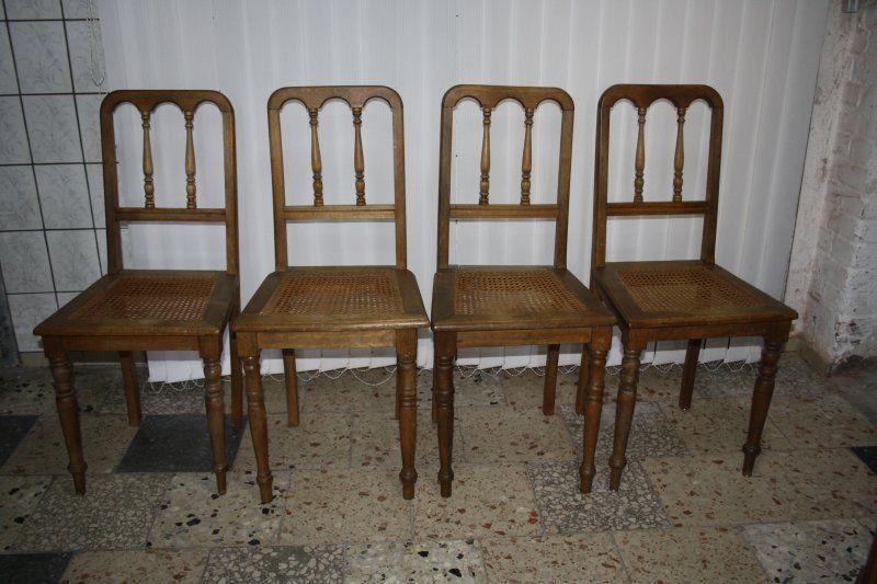 4 antike Stühle / Stuhl massiv Eiche mit Geflecht um1890 /a957 .