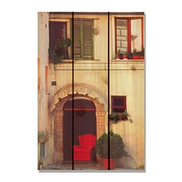 gizaun Art Rot Stuhl Innen/Außen Wand Kunst, Full Color auf Zeder .