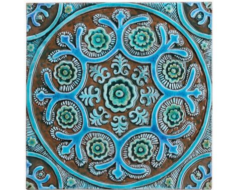 Suzani wall hanging made from ceramic, Outdoor wall art, Ceramic .