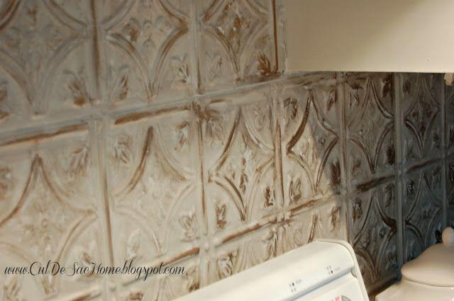 Antiqued Kitchen Backsplash   Decor, Tin backsplash kitchen .