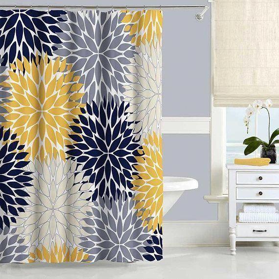 Blaue und gelbe Duschvorhang, Dahlia Floral Duschvorhang .
