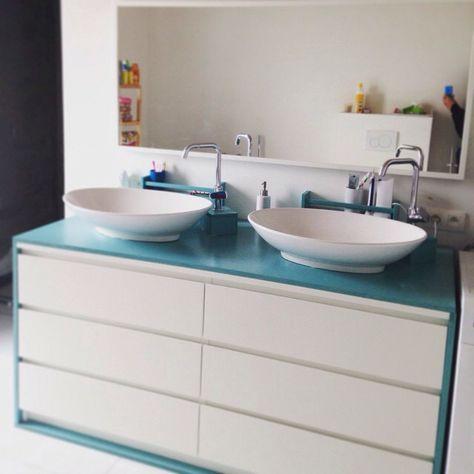 Ikeahack! Malm dresser converted into bathroom sink. | Badezimmer .