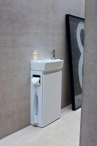 Die ALL-in-ONE Gäste-WC-Einheit mit Waschbecken und -unterschrank .