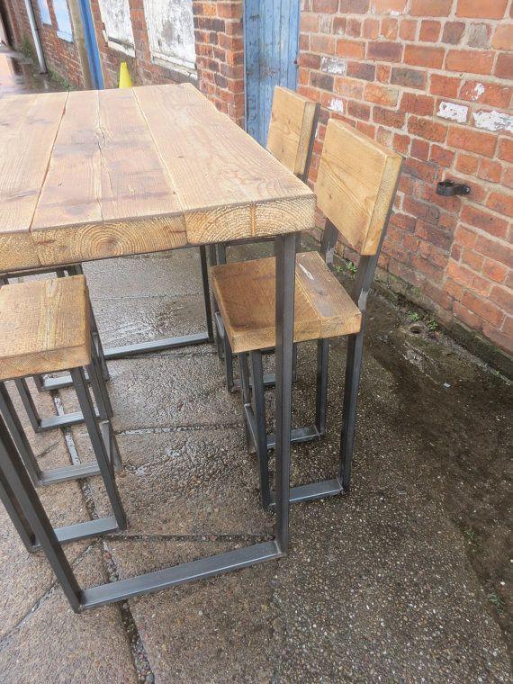 ZurückgewonnenIndustrie 4 Sitzer Chic hohe Poseur Tisch - Bar Cafe .
