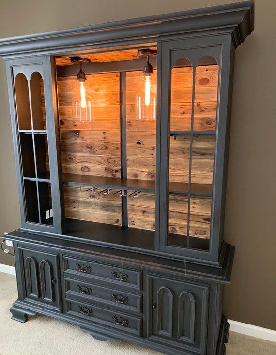 Sold Rustic Bar Cabinet Buffet Hutch Wine Hutch Liquor | Et