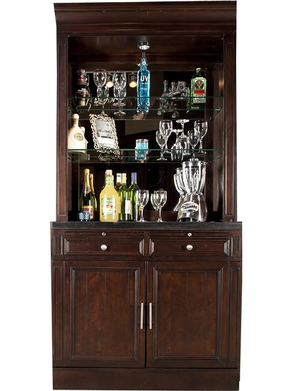 Stanford 2 Piece Bar Base & Hutch in Light Vintage Sherry Finish by .