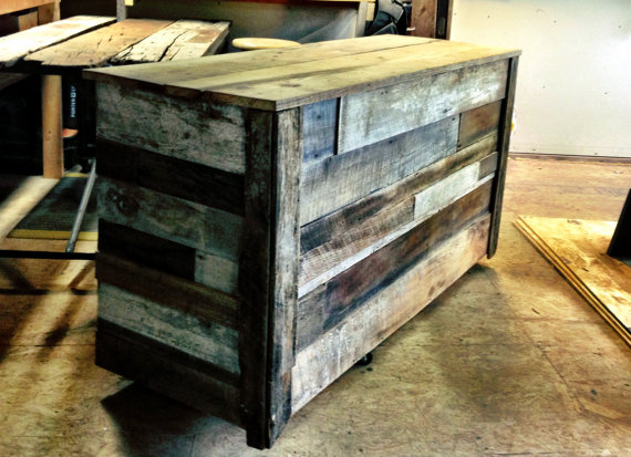 Reclaimed Barnwood Mobile Bar — Legacy Buildi