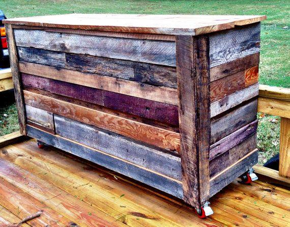 Reclaimed Barnwood Mobile Bar | Reclaimed barn wood, Barn wood .