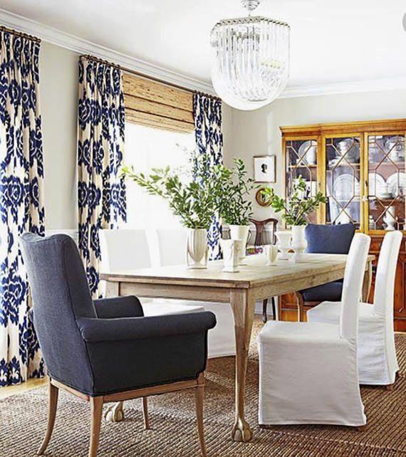 Blaue IKAT Vorhänge blau weiße Vorhänge Duralee Kelim drapiert .