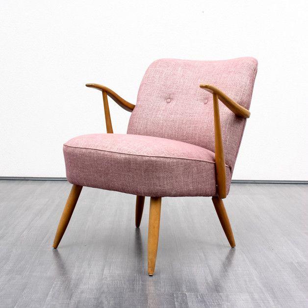 Super bequemer Vintage Sessel mit Sitzpolster in Rosa/ comfortable .