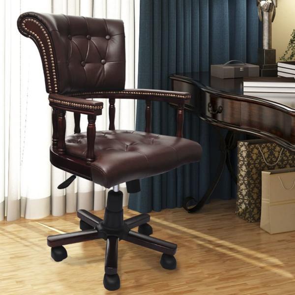 Bequemer Bürostuhl zum drehen mit Echtleder und Kunstleder .
