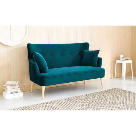 2-Sitzer-Sofa mit petrolblauem Samtbezug in 2020   Sofa design .