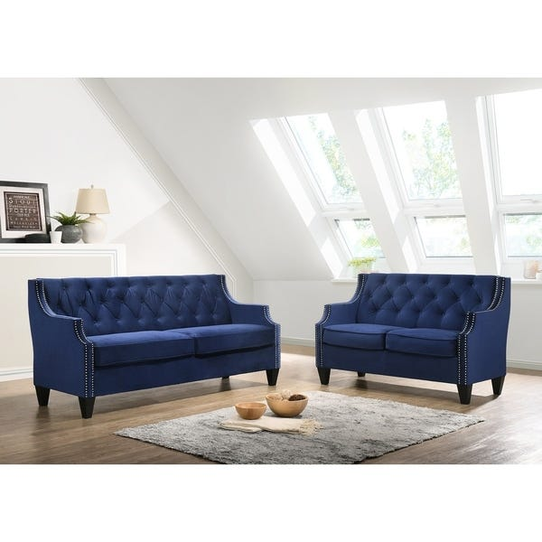 Shop Best Quality Furniture 2-Piece Velvet Tufted Sofa and .