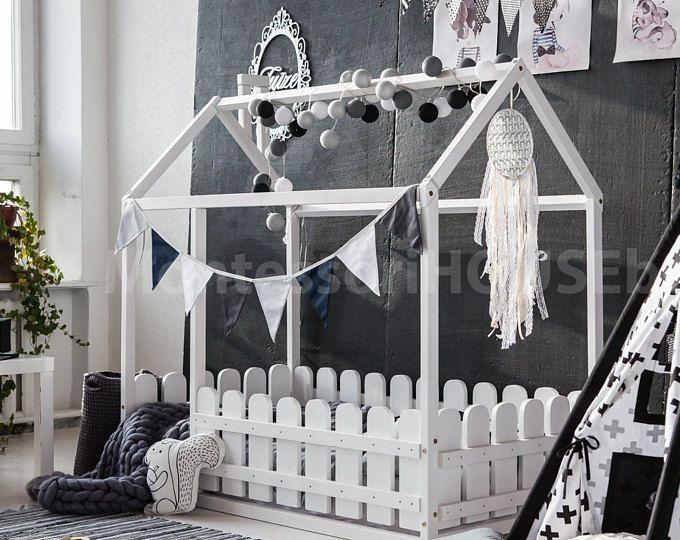 Wood bed house frame bed baby bed nursery crib Kids teepee .