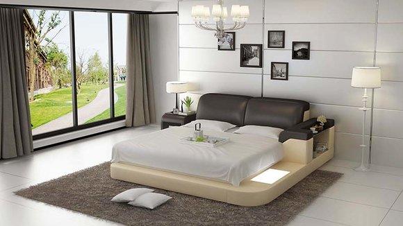 Luxus Bett +Beleuchtung Lederbett Betten Sofa Big Ehe Polster 140 .