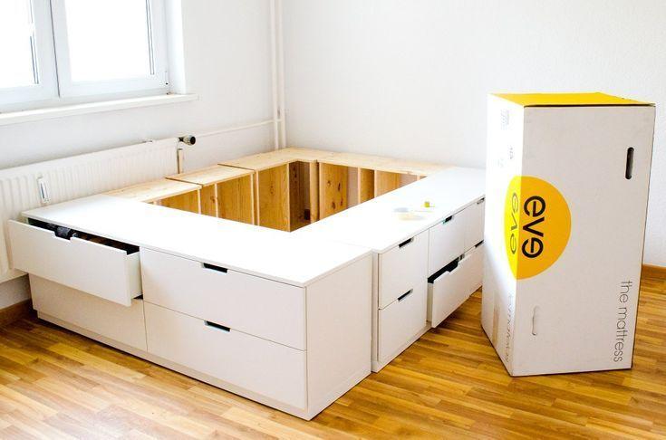 aus #Bettplattform #DIY #gebaut   Bett selber bauen, Ikea kommode .