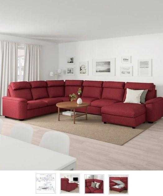 LIDHULT 6er-Eckbettsofa, mit Récamiere, Lejde rotbraun rot/braun .