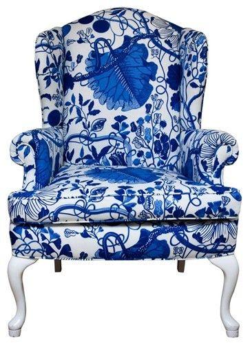 Wingback chair in Josef Frank's La Plata fabric via vandm.com .