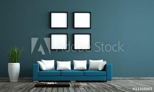 blaues Sofa vor blauer Wand mit Bildervorlagen - Buy this stock .