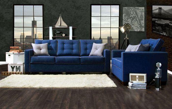 Blaues Sofa – 50 Einrichtungsideen mit Sofa in Blau, die .