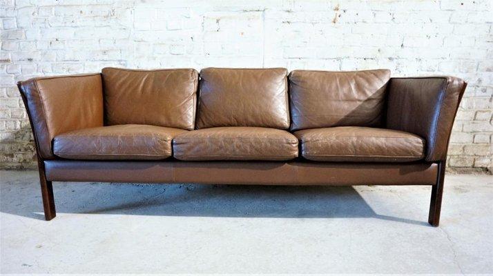 Skandinavisches Sofa aus braunem Leder , 1970er bei Pamono kauf