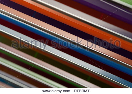 Büro Schubladen bunte Nahaufnahmen von bunten Schubladen Stockfoto .