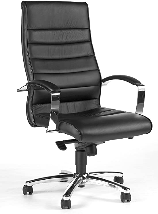 Topstar Designer-Luxus-Chefsessel, Bürostuhl, Leder, schwarz .