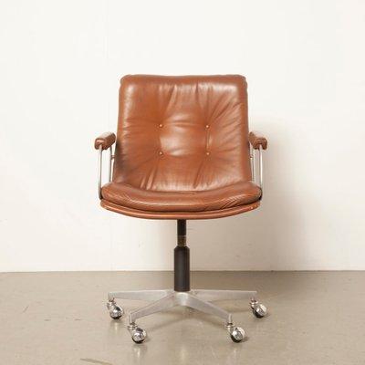 Vintage Bürostuhl aus braunem Leder von Geoffrey Harcourt für .