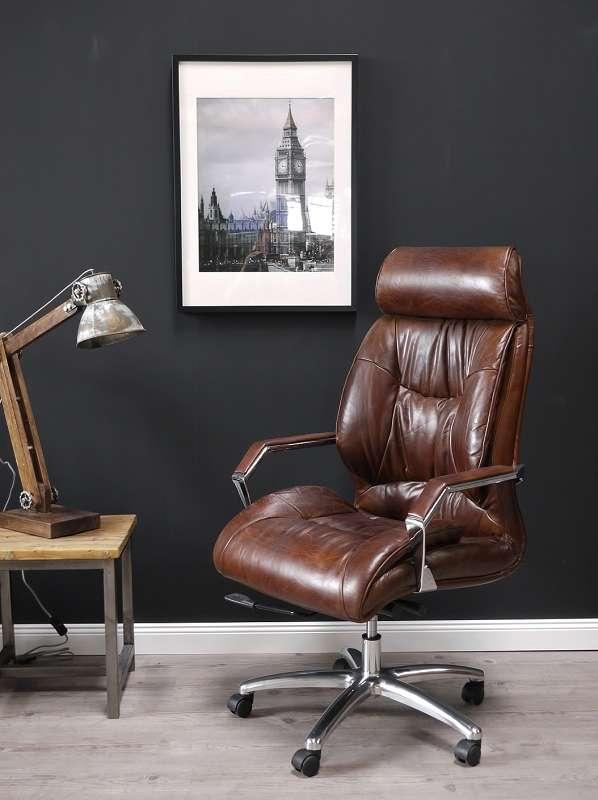 Vintage Bürostuhl Wales braun Echt Leder Rindsleder - Vintage und .