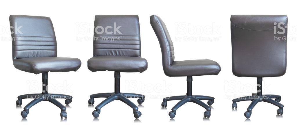 Satz Von Leder Bürostuhl Isoliert Auf Weißem Hintergrund Stockfoto .