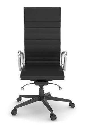 Schwarzes Leder Bürostuhl Auf Weißem Hintergrund. Lizenzfreie .