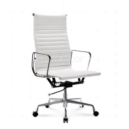 Hoher EA Bürostuhl mit geripptem, weißem Leder - moDecor .