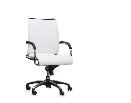 Moderne Bürostuhl Aus Weißem Leder. Isoliert Lizenzfreie Fotos .