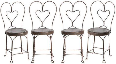 4er Set Wire Work 'Sweetheart' Cafe Stühle | Vintage stühle .