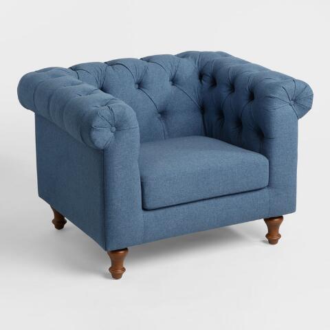 Denim Blue Quentin Chesterfield Chair | World Mark