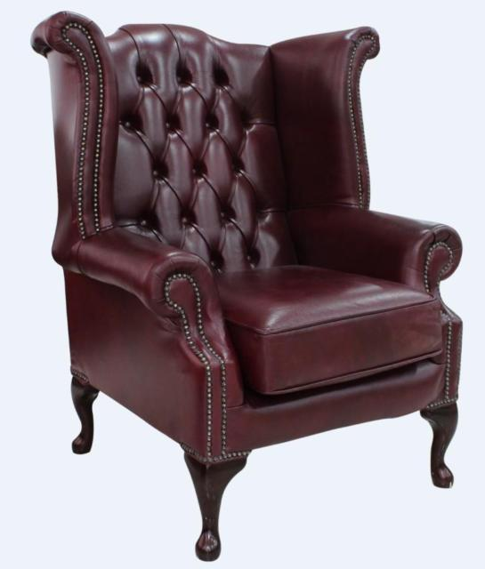 Chesterfield Queen Anne High Back Wing Chair Perla Illusions Grey .