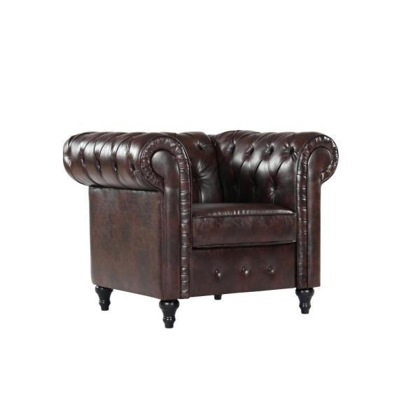 US Pride Furniture Teressa Brown Chesterfield Chair S5442-C - The .