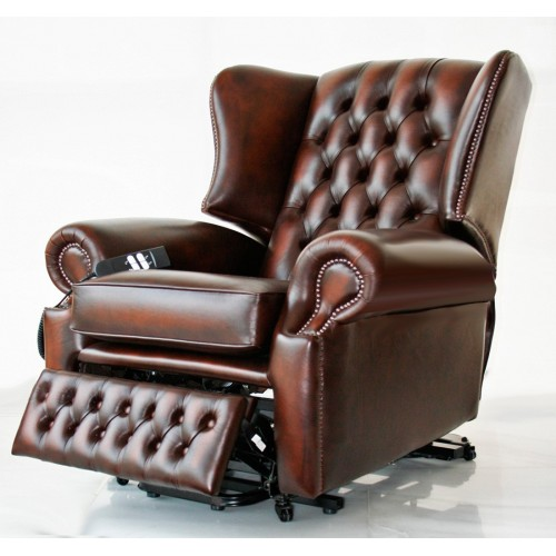 Classic Wing Reclining Leather Chesterfield Chair - House of .