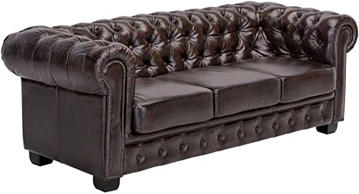 Woodkings® Chesterfield Sofa 3-Sitzer Braun Vintage Echtleder .