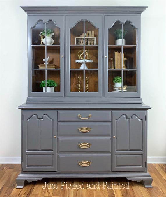 SOLDGray china cabinet gray hutch painted china cabinet   Et