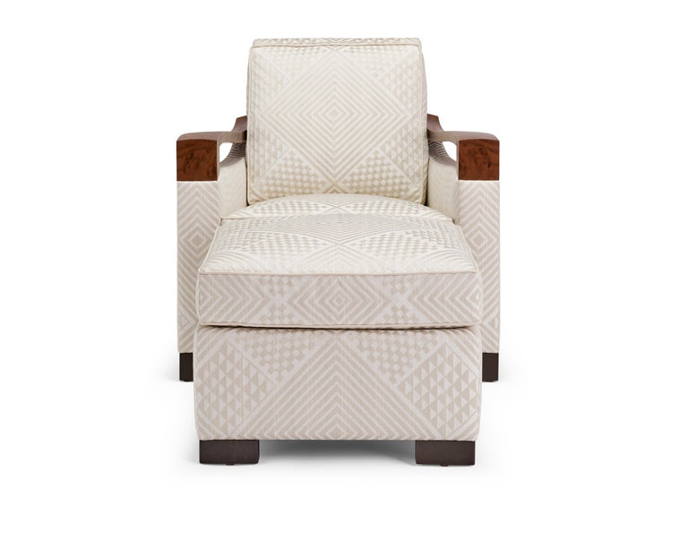 Donghia Woodbridge Club Chair and Ottoman in Cream Upholstery .