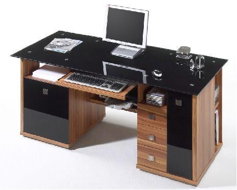 Micro Desk Computerschreibtisch Glas schwarz - hochwertige .