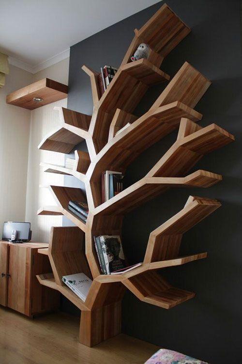 50+ Coole und kreative Bücherregale – 2019   Geometric shelves .