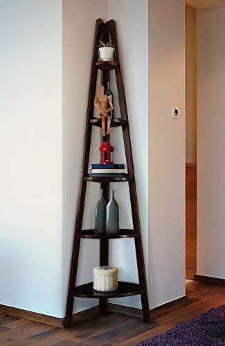 Artonell Corner Shelf Display Rack with 5 Tiers, Furniture Wood .