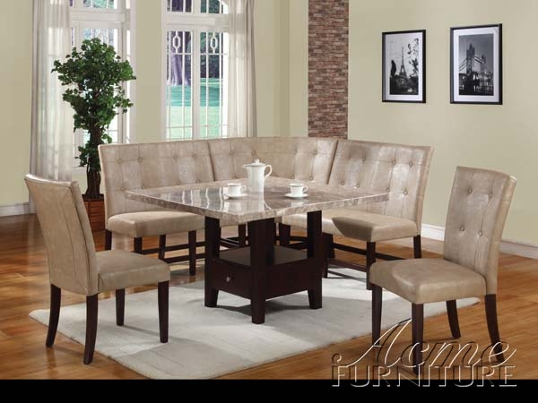 Britney White Marble 6 Piece Corner Dining Set by Acme - 102