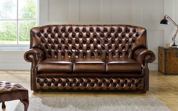 CHESTERFIELD Klassisches 3-Sitzer Sofa Premium Klasse Designer .